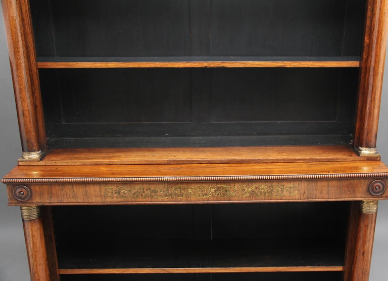 Early 19th Century Rosewood and Brass Inlaid Bookcase For Sale 3