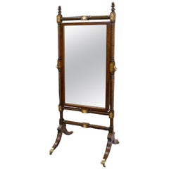 Early 19th Century Rosewood Cheval Mirror with Original Mirror