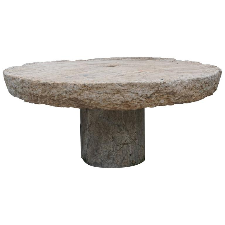 Early 19th Century Round Millstone Table from Sicily In Good Condition For Sale In West Palm Beach, FL