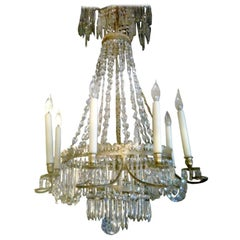 Early 19th Century Russian Gilt Bronze and Crystal Chandelier, Exceptional