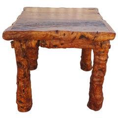 Rustikaler Wurzelholz und Blockbohle Tisch, Frühes 19. Jahrhundert