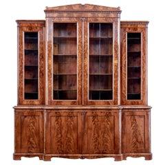 Early 19th Century Scandinavian Empire Flame Mahogany Breakfront Bookcase
