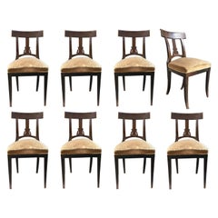 Early 19th Century Set of Eight Italian Empire Chairs in Solid Beecwood