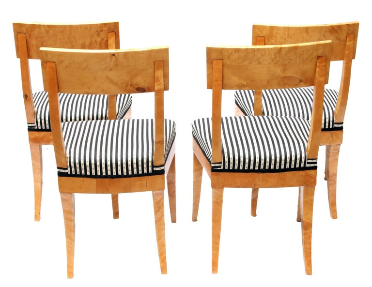 Polished Early 19th Century Set of Four Biedermeier Birch Wood Chairs from Germany For Sale