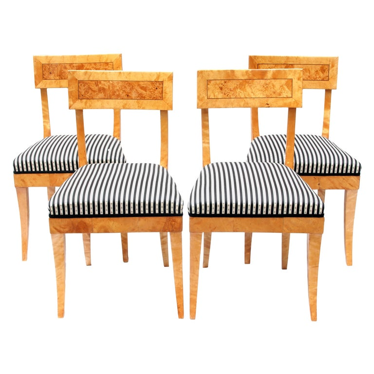 Early 19th Century Set of Four Biedermeier Birch Wood Chairs from Germany For Sale