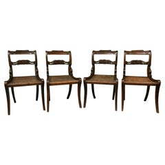 Early 19th Century Set of Four Regency Faux Grained Painted Cane Set Chairs