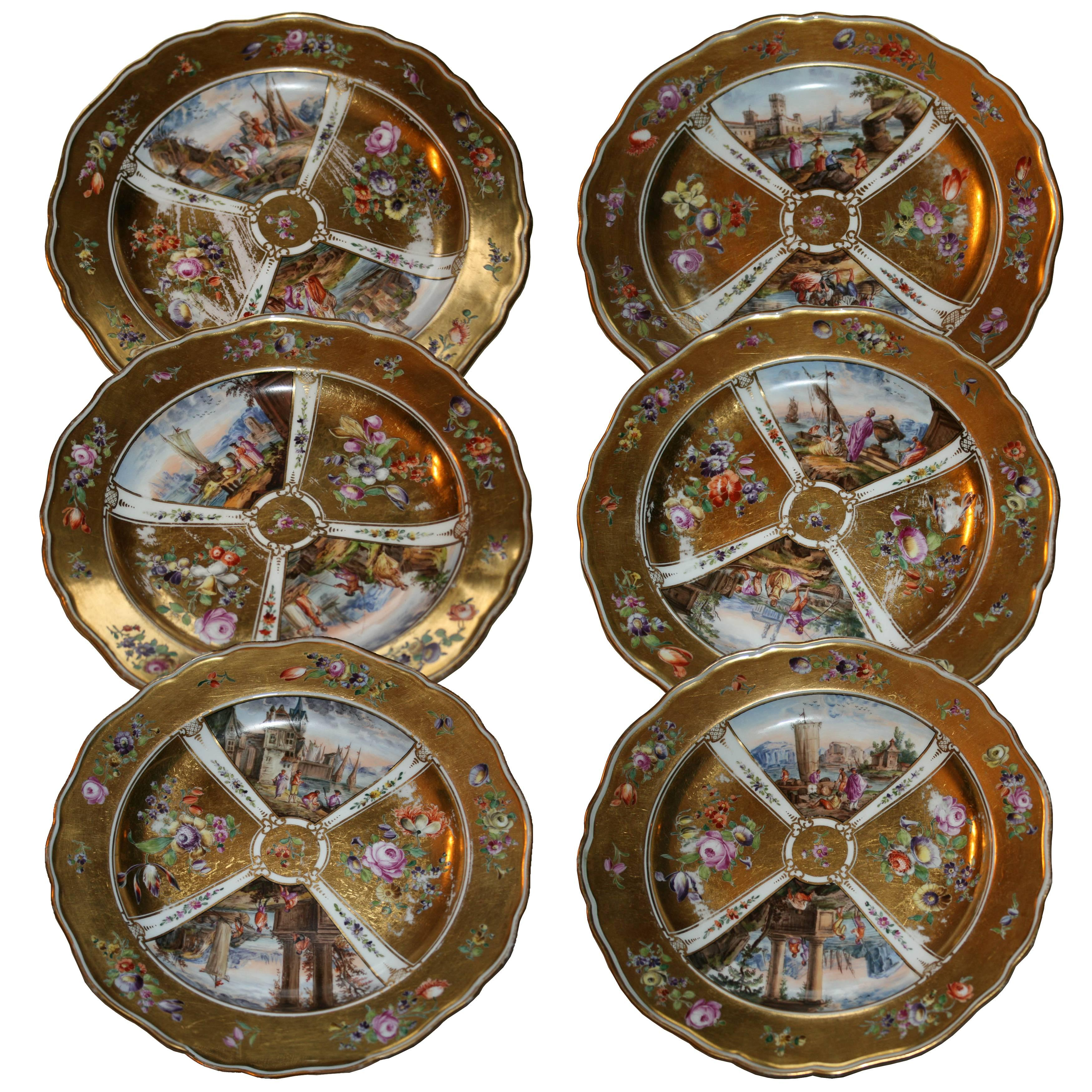 Meissen Early 19th Century Set of Six Gold-Plated Porcelain Dishes