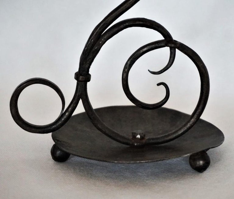 Early 19th Century Set of Three Spanish Hand Forged Iron Church Candleholders For Sale 6
