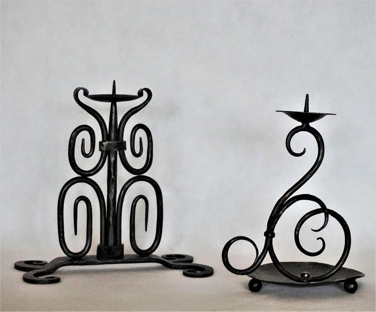 Folk Art Early 19th Century Set of Three Spanish Hand Forged Iron Church Candleholders For Sale
