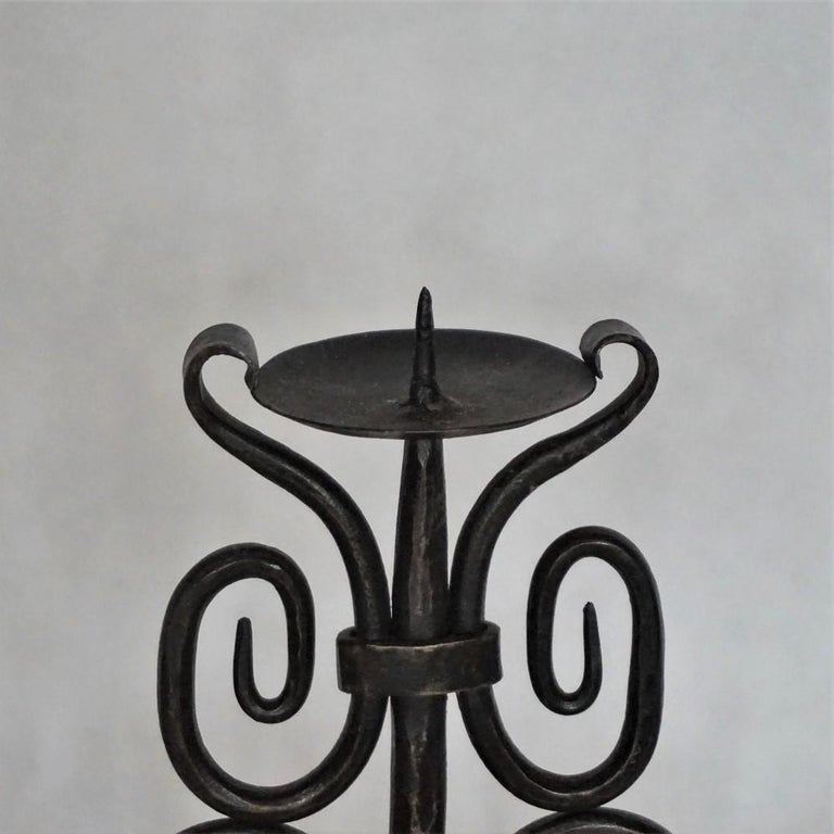 Early 19th Century Set of Three Spanish Hand Forged Iron Church Candleholders For Sale 2