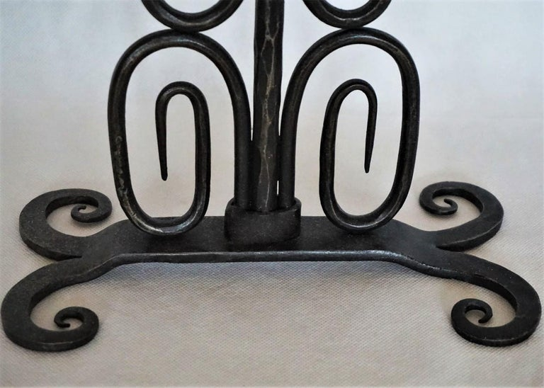 Early 19th Century Set of Three Spanish Hand Forged Iron Church Candleholders For Sale 3
