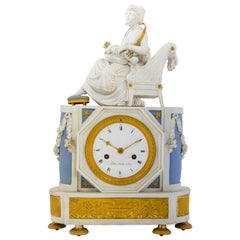 Early 19th Century Sèvres Neoclassical Ormolu and Bisque Porcelain Clock
