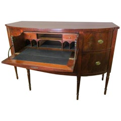 Early 19th Century Sheraton Style American Bowfront Sideboard with Dropdown Desk