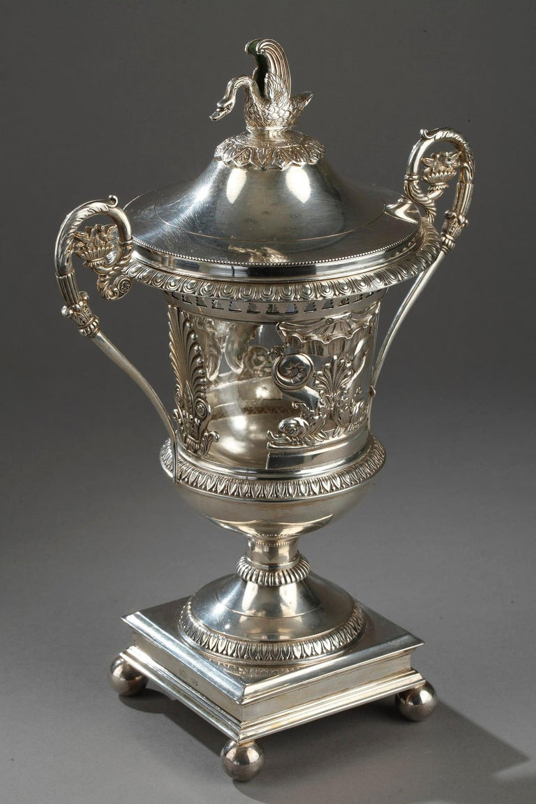 Early 19th Century Silver and Crystal Candy Dish For Sale 2
