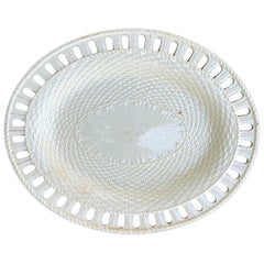Early 19th Century Single Reticulated Creamware Oval Plate, Unmarked
