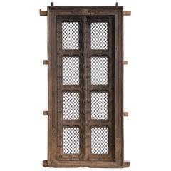 Early 19th Century Solid Teak Wood and Ornamental Iron 2nd Floor Balcony Doors