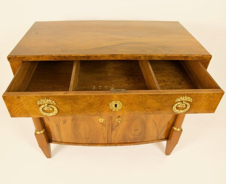 Gilt Early 19th Century South German or Austrian Biedermeier Walnut Cabinet Dresser For Sale