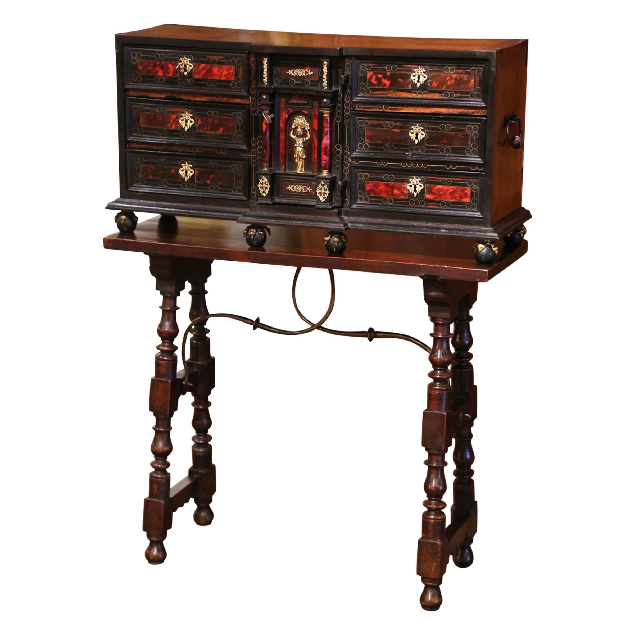 Early 19th Century Spanish Carved Walnut Bargueno Cabinet on Table Base