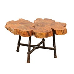 Early 19th Century Spanish Wood Slab Coffee Table with Hand Forged Iron Base