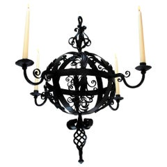 Early 19th Century Spanish Wrought Iron Chandelier