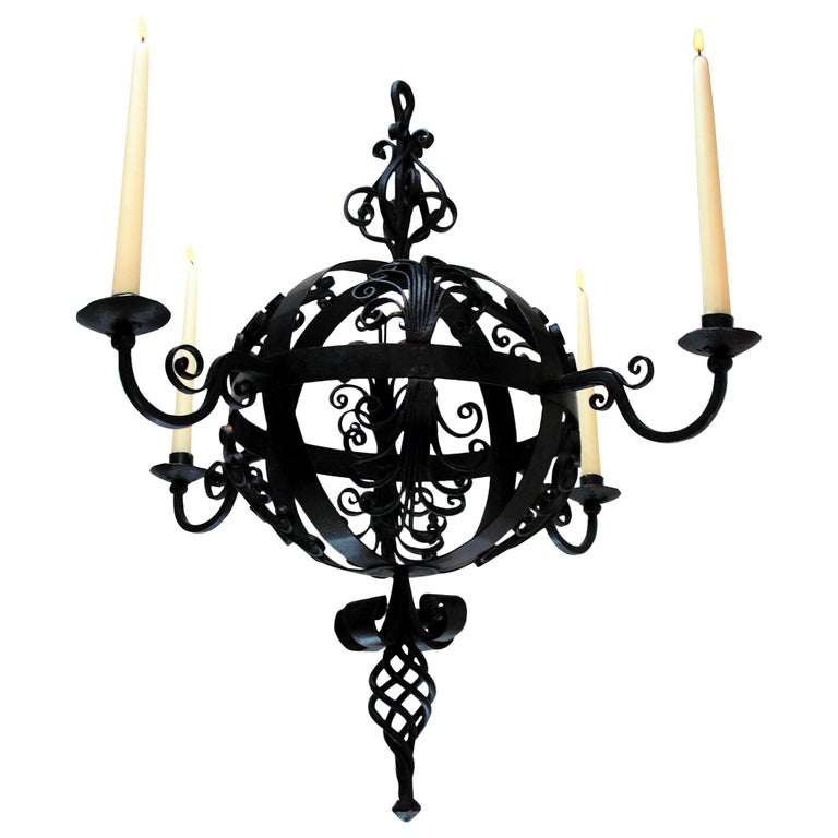 Early 19th Century Spanish Wrought Iron Chandelier For Sale