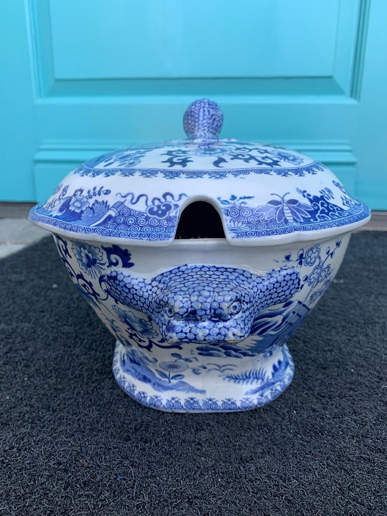 Porcelain Early 19th Century Spode Blue and White Tureen For Sale