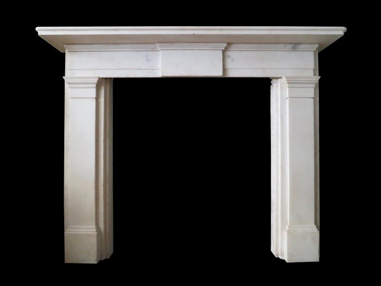 Regency Early 19th Century Statuary White Marble Fireplace For Sale