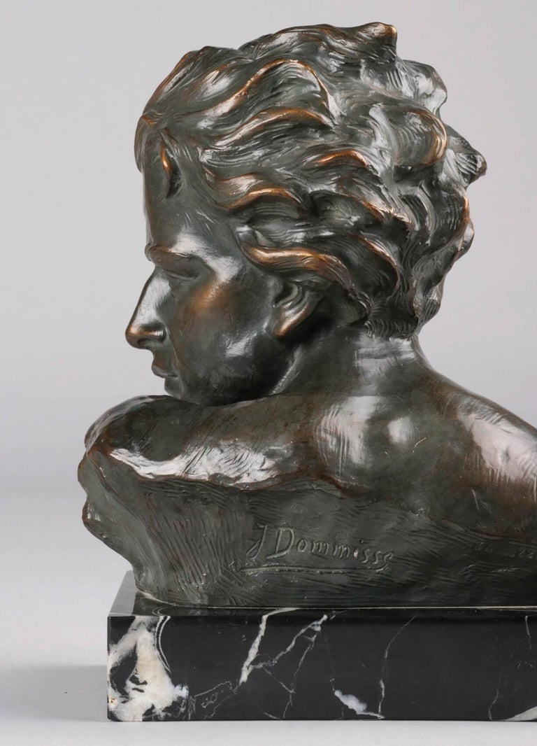 Early 20th Century Statue of a Young Man 'en Profil' by Johannes Dommisse 4