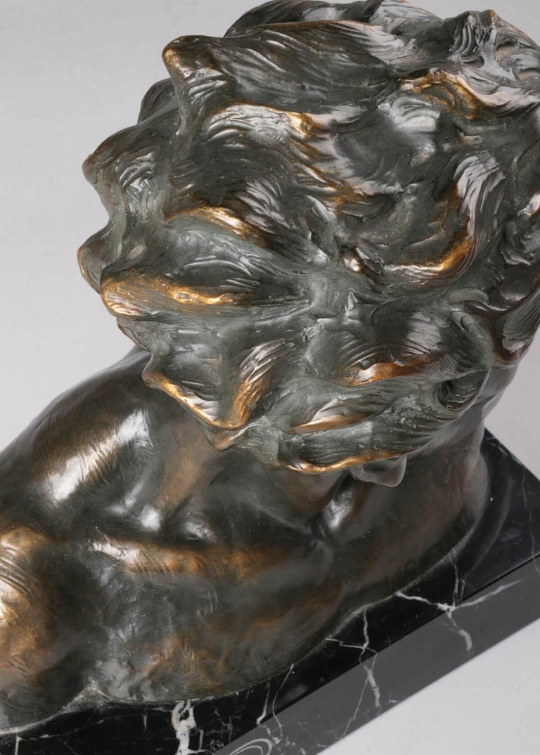 Early 20th Century Statue of a Young Man 'en Profil' by Johannes Dommisse 6