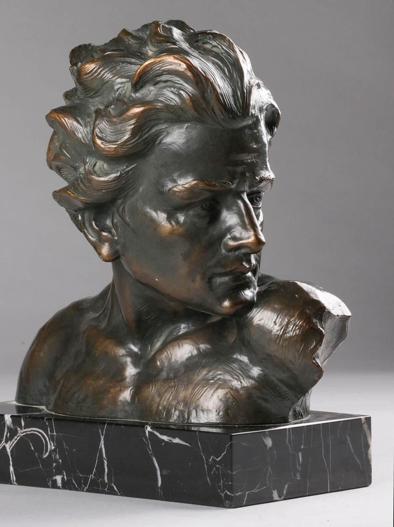 Early 20th Century Statue of a Young Man 'en Profil' by Johannes Dommisse 9