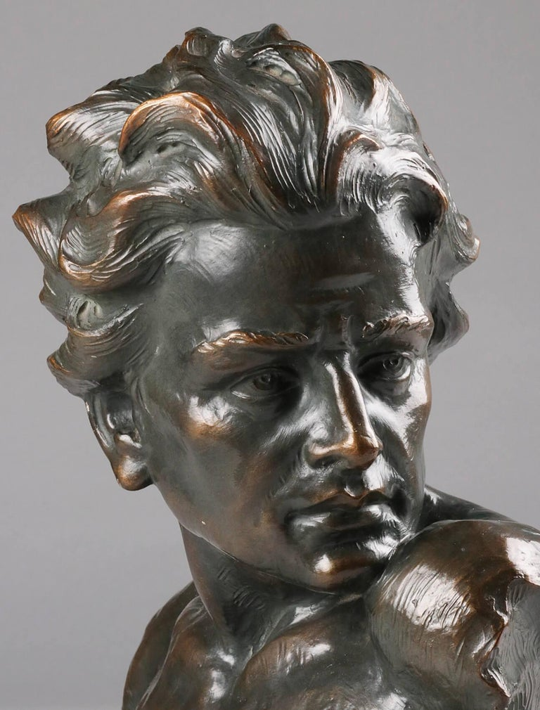 Early 20th Century Statue of a Young Man 'en Profil' by Johannes Dommisse 10