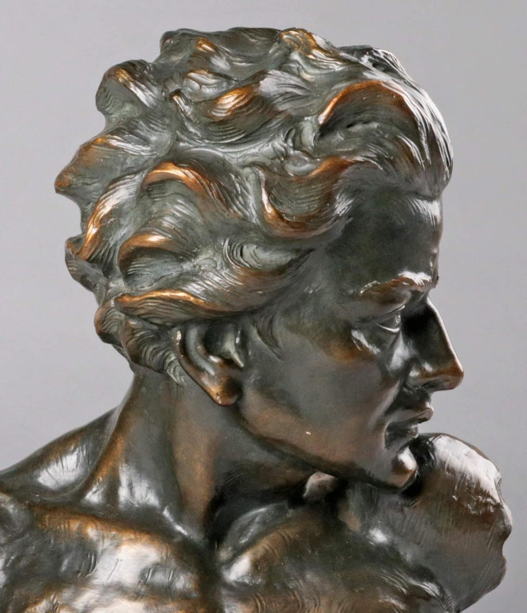 Early 20th Century Statue of a Young Man 'en Profil' by Johannes Dommisse 11