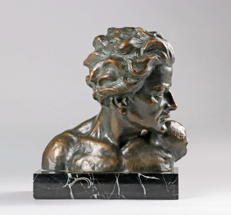 Art Deco Early 20th Century Statue of a Young Man 'en Profil' by Johannes Dommisse