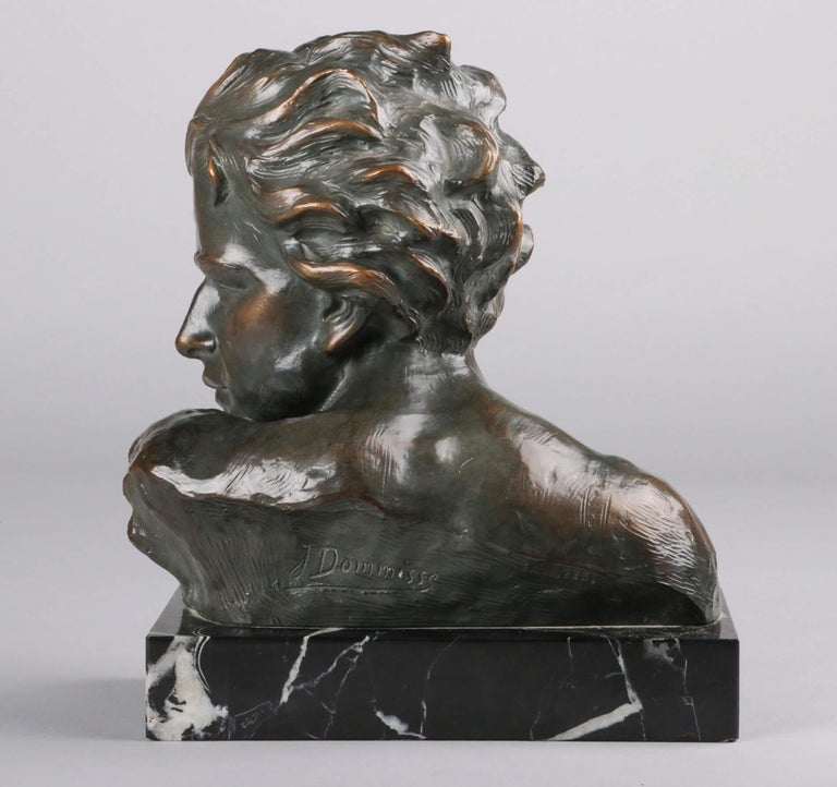 Belgian Early 20th Century Statue of a Young Man 'en Profil' by Johannes Dommisse