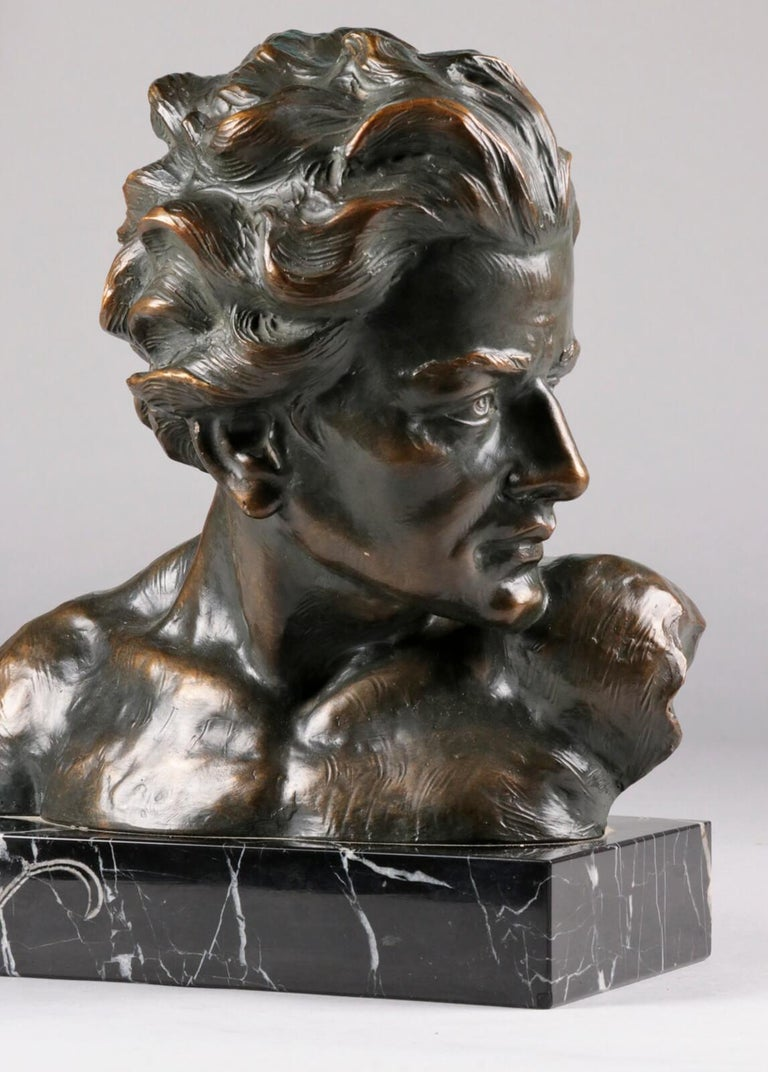 Hand-Crafted Early 20th Century Statue of a Young Man 'en Profil' by Johannes Dommisse