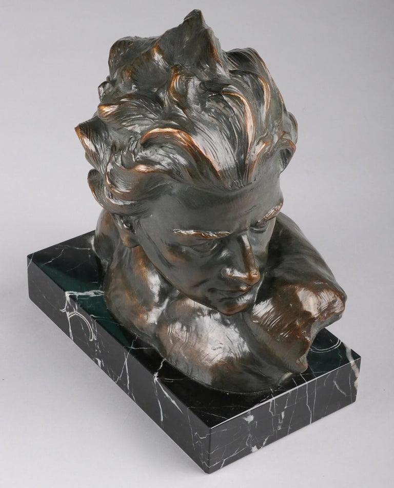 Early 20th Century Statue of a Young Man 'en Profil' by Johannes Dommisse 1