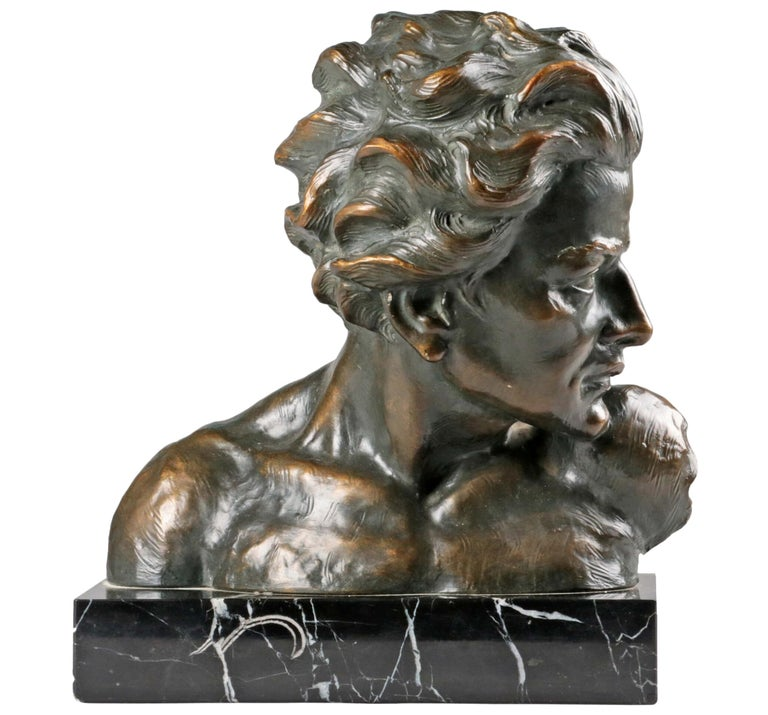 Early 20th Century Statue of a Young Man 'en Profil' by Johannes Dommisse