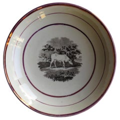 Early 19th Century Sunderland Porcelain Lustre Dish, Printed Pattern of Cattle