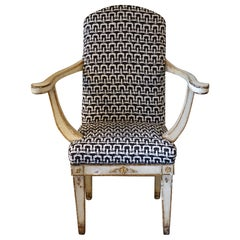 Early 19th Century Sweden Tall Armchair, Lacquered Wood, B/W Woven Fabric