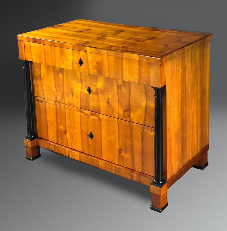 Scandinavian Early 19th Century Swedish Biedermeier Cherrywood Commode Chest of Drawers For Sale
