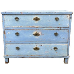 Early 19th Century Swedish Chest of Drawers with Original Blue Scraped Paint