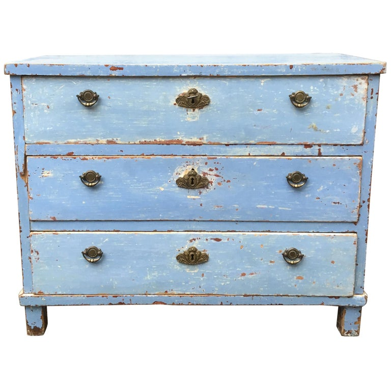 Early 19th Century Swedish Chest of Drawers with Original Blue Scraped Paint For Sale