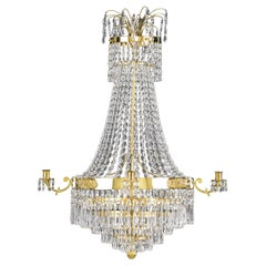 Early 19th Century Swedish Empire Gilt-Bronze and Cut-Glass Chandelier