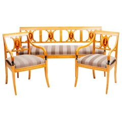 Early 19th Century Swedish Empire Set with Pair of Birch Armchairs and a Bench