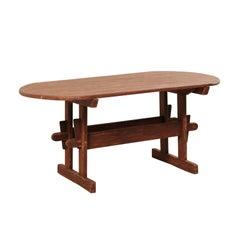 Early 19th Century Swedish Falun Red Wood Trestle Breakfast Table or Desk