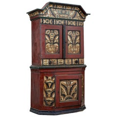 Early 19th Century Swedish Folk Art Hand Painted Cupboard
