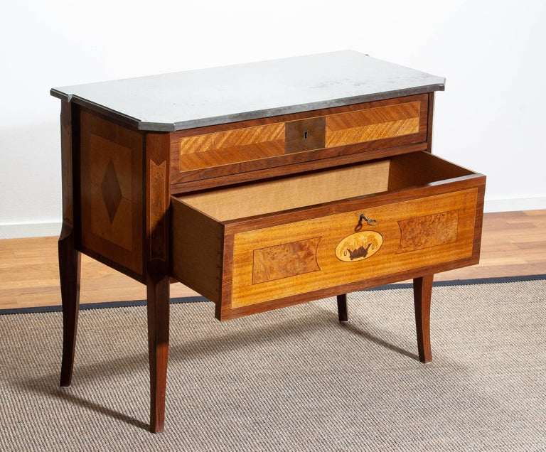 1900s, Swedish Walnut Birch Fruits Mahogany Commode Dresser  with Kolmarden Top For Sale 1