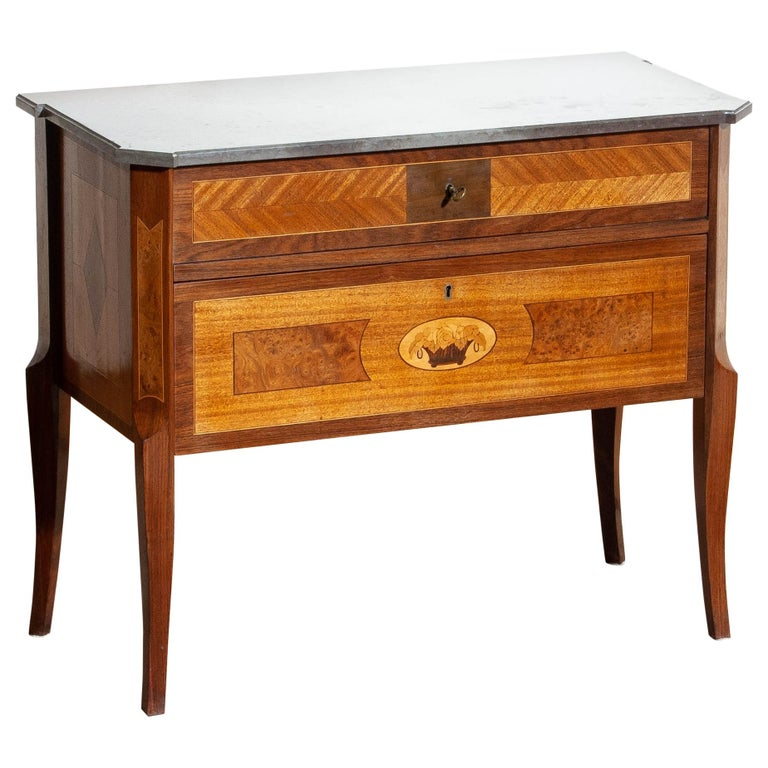 1900s, Swedish Walnut Birch Fruits Mahogany Commode Dresser  with Kolmarden Top For Sale