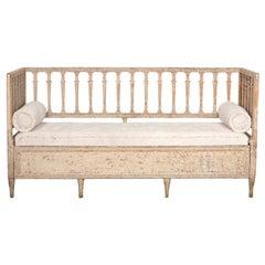 Early 19th Century Swedish Gustavian Stick Back Sofa in Original Paint