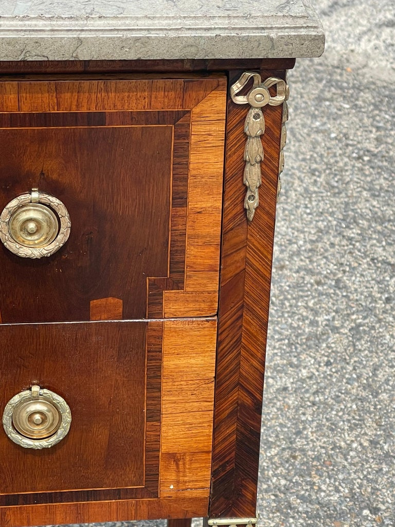 Marble Early 19th Century Swedish Neoclassical Satinwood and Fruitwood Commode For Sale